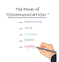 hand writing the power of communication vector image