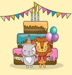 happy birthday card cartoons vector image