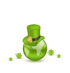 Hat and shamrocks around Globe on St Patricks Day vector image