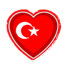 heart shaped flag of turkey vector image