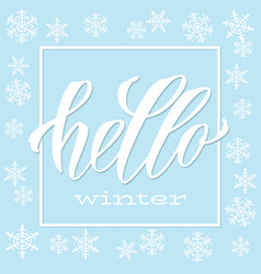 Hello winter handlettering inscription lettering vector