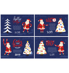 holly jolly greeting cards santa pointing on tree vector image