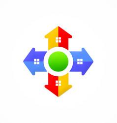 home arrow direction game logo vector image
