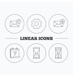 Hourglass inbox mail and e-mail icons vector