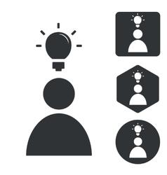 Idea icon set monochrome vector