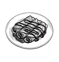 Ink sketch crepes with chocolate cream filling vector