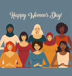 international women s day female diverse faces vector image