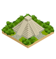 Isometric mayan pyramid isolated on white vector