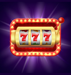 jackpot at slot machine realistic vector image