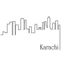 Karachi city one line drawing vector