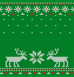 Knitted seamless green christmas pattern with deer vector