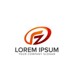 letter f logo ovale logo design concept template vector image