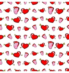 Lips and Hearts Seamless Pattern Love Background vector image