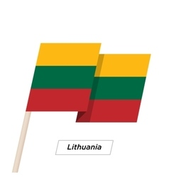 Lithuania Ribbon Waving Flag Isolated on White vector