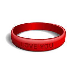 love you red plastic wristband vector image