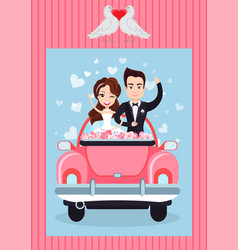 man and woman in auto groom and bride vector image