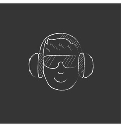 Man in headphones Drawn in chalk icon vector image