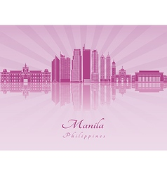 Manila skyline in purple radiant orchid vector