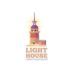 Marine lighthouse safety logo template vector image