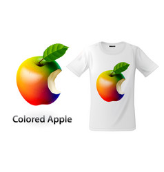 modern t-shirt print design with colored bitten vector image