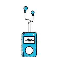 Mp3 player with rhythm cardiac and headphones vector