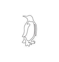 one continuous line drawing funny penguin for vector image