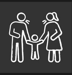 Parents scolding child chalk icon vector