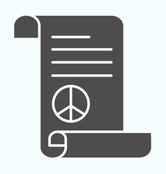 Peace treaty solid icon document with peace vector