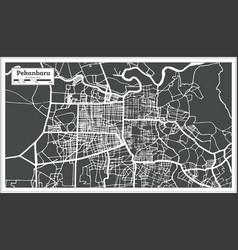 Pekanbaru indonesia city map in retro style vector