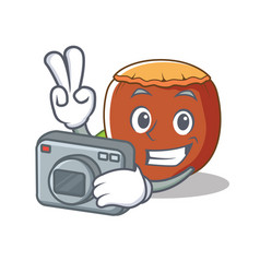 photographer hazelnut mascot cartoon style vector image