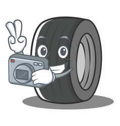 Photography tire character cartoon style vector