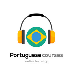 portuguese language learning logo icon vector image