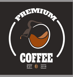 premium coffee circle frame coffee pot background vector image