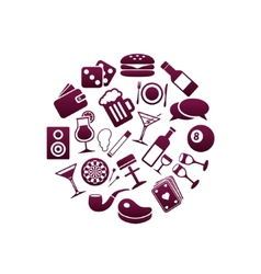 pub icons in circle vector image