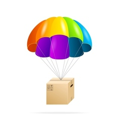 Rainbow parachute with cardboard box on a white vector image