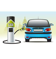 Refilling a hybrid car vector image vector image