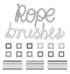 Rope nautical pattern brushes set vector image