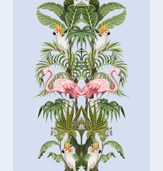 seamless border with jungle trees flamingo vector image