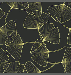 Seamless pattern with golden ginkgo leaves vector