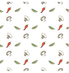 Seamless pattern with mushrooms champignons vector