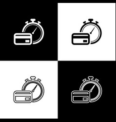 Set fast payments icons isolated on black and vector