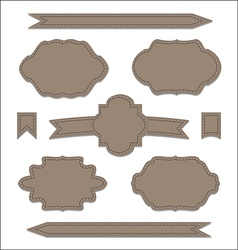 Set leather ribbons vintage labels geometric vector