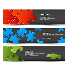 Set of dark puzzle horizontal banners vector image