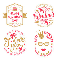 set of happy valentines day sign stamp card wit vector image