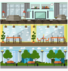set of internet interior concept posters vector image