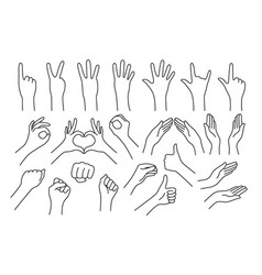 set of realistic gestures hand shape vector image