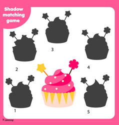 Shadow matching game kids activity with cupcake vector