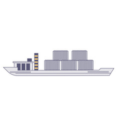 shipping boat with cargo and freight logistic vector image