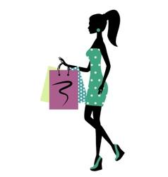 Silhouette a fashionable shopping woman vector