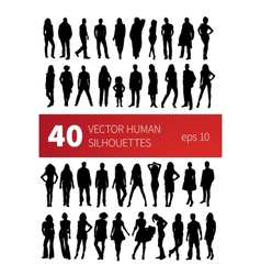silhouettes of people in various poses isolated vector image